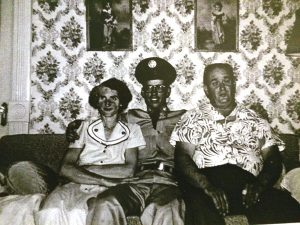 My dad with his parents, Myron and Cleo Bigelow