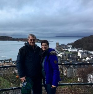 Angela and Mike in Oban, a seaside village in Scotland.