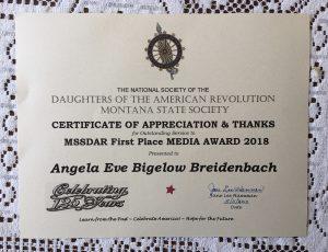 MSSDAR First Place Media Award for outstanding service to Angela Breidenbach