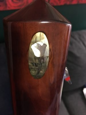 Beautiful mother-of-pearl rose inlay