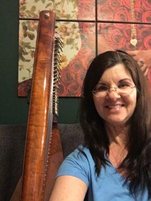 Angela and her Vivid Color Sonnet Lap Harp