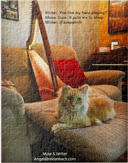 An A-Muse-ing Puzzle-Harping Cat